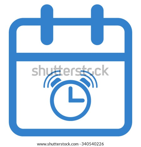 Alarm Date vector icon. Style is flat symbol, cobalt color, rounded angles, white background. - stock vector