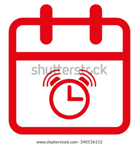Alarm Date vector icon. Style is flat symbol, red color, rounded angles, white background. - stock vector
