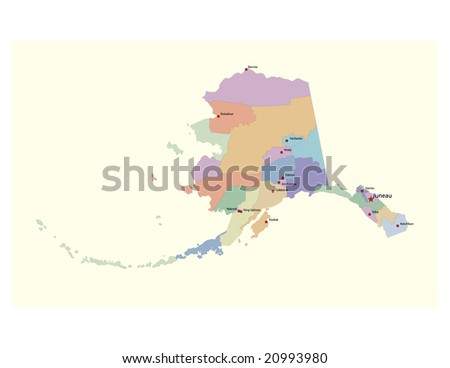 Alaska boroughs vector map, with borough seats. 32 layers, fully editable.  Can be combined with corresponding physical and road vector maps from my portfolio.