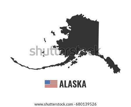 Alaska Map Isolated On White Background Silhouette Alaska Usa State American Flag Vector