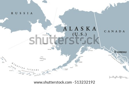 Us State Alaska Political Map Capital Stock Vector - Us political map with capitals