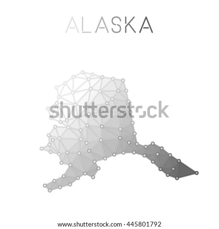 Alaska Polygonal Vector Map Molecular Structure Us State Map Design Network Connections Polygonal Alaska