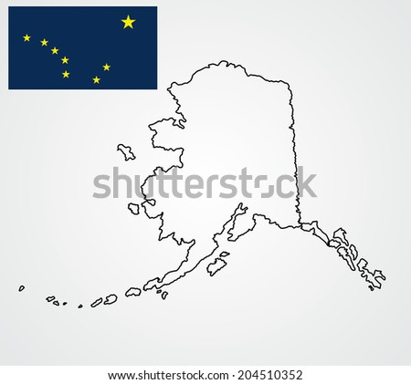 Alaska Vector Map And Vector Flag Isolated On Ice Background Silhouette High Detailed Ilration