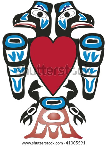 Alaskan ravens with heart rendered in Northwest Coast Native style. - stock vector