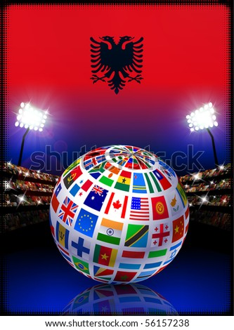Albania Flag Globe on Stadium Background Original Illustration