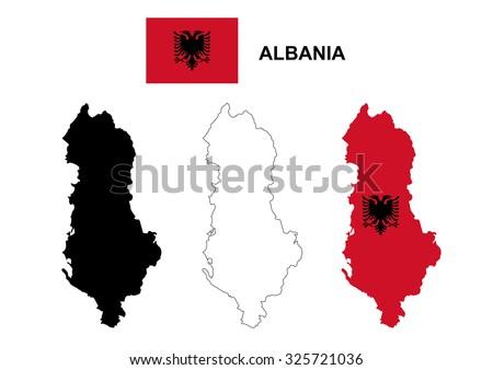 Albania map vector, Albania flag vector, isolated Albania - stock vector