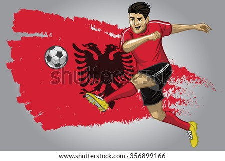 Albanian soccer player with flag as a background
