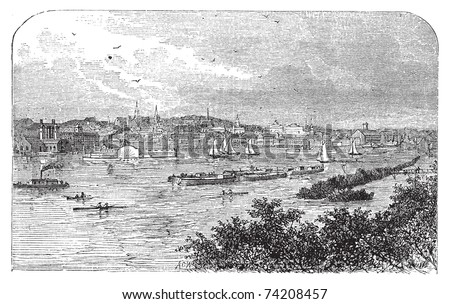 Albany, New York, in 1890. Capital city of New York state. Engraving. Vintage engraved illustration of the famous capital. Lively scenic engraving of the bay. - stock vector