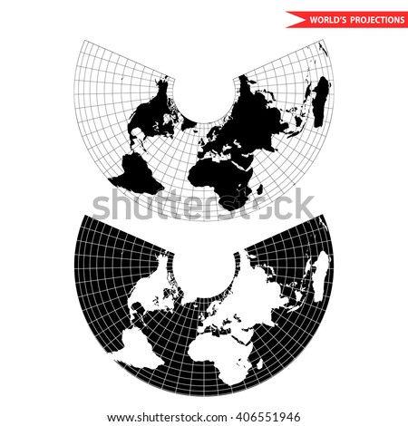 Albers equal area conic projection. Black and white world map with countries and borders. Earth plannar map. - stock vector