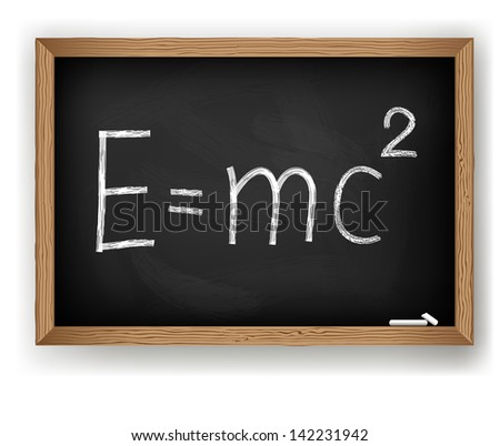 Albert Einsteins physical formula on blackboard - stock vector