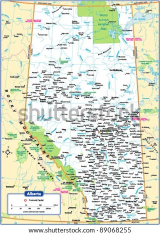 Alberta Province Map - stock vector