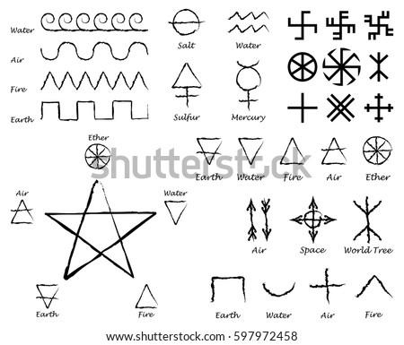 Alchemical Signs Slavic Amulets Symbols Solar Stock Vector 597972458