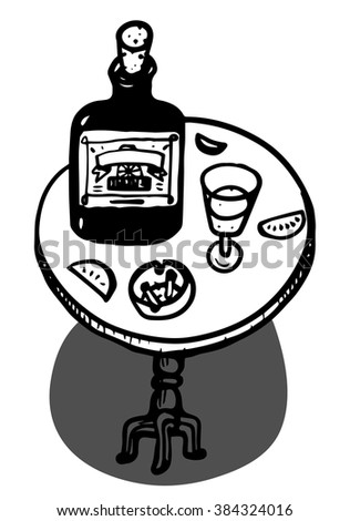 Alcohol bottle and glass  - stock vector