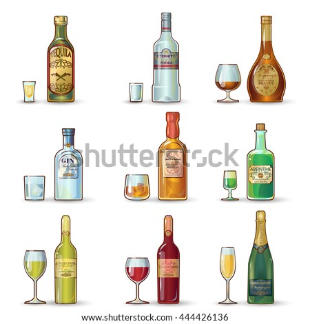 Alcohol bottles decorative icons set with labels goblets of different shape and beverages isolated vector illustation