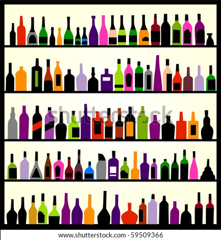 alcohol bottles on the wall - stock vector