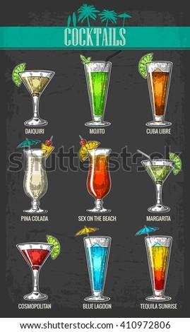 Alcohol cocktail set - margarita, sex on the beach, pina colada, daiquiri, mojito, cuba libre, cosmopolitan, blue lagoon, tequila sunrise. Vintage vector engraving poster, menu for summer party. - stock vector