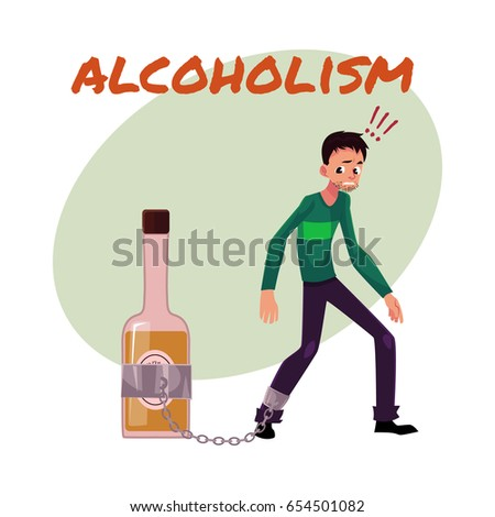 Alcohol Dependence Poster Banner Template Man Stock Vector (Royalty ...