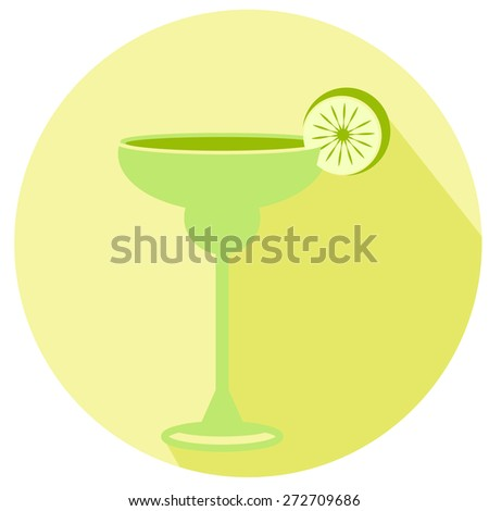 Alcohol drink and cocktail icon in flat. Cocktail icon with long shadow. Margarita