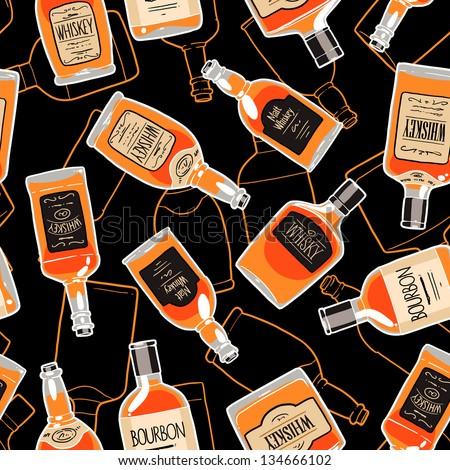 alcohol drink bottles seamless patterns. whiskey bottles endless background - stock vector
