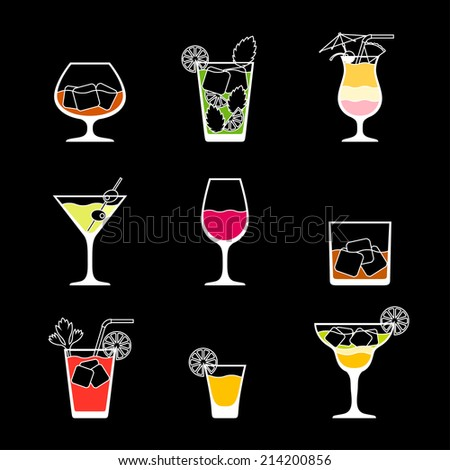 Alcohol drinks and cocktails icon set in flat design style. - stock vector