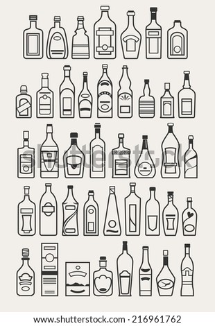 alcohol, drinks, beverage, bottle icons, vector illustration - stock vector