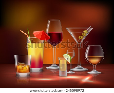 Alcohol drinks beverages in glasses decorative icons set vector illustration - stock vector