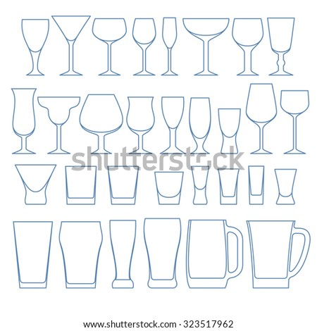 Alcohol drinks glasses set outline vector illustration. Wine whiskey vodka beer crockery. - stock vector