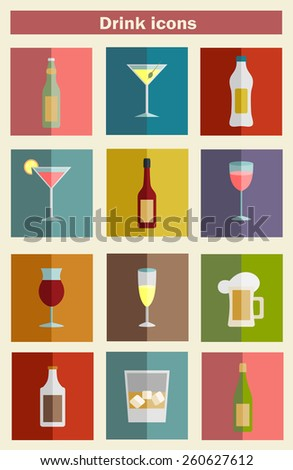 Alcohol drinks icon set flat style,vector  illustration - stock vector