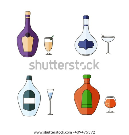 Alcohol Drinks Icon Set in Flat Design Style.  - stock vector