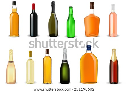 Alcohol drinks in bottles - vector isolated - stock vector