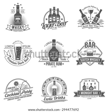 Alcohol drinks premium quality black label set isolated vector illustration - stock vector