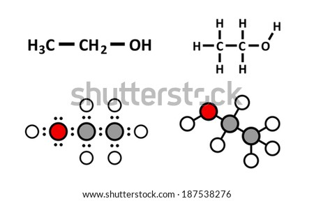 Alcohol (ethanol, ethyl alcohol) molecule, chemical structure. Stylized 2D renderings and conventional skeletal formulae. - stock vector