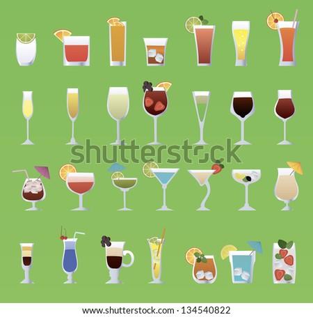 alcohol glass set - stock vector