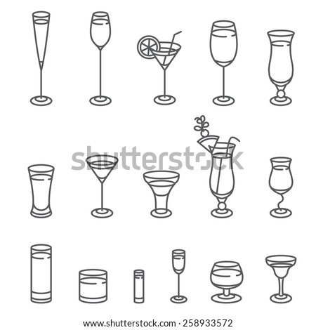 Alcohol glasses. Icon Set.  Different types of alcohol glasses. - stock vector