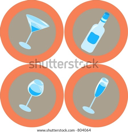 Alcohol icons 1 - stock vector