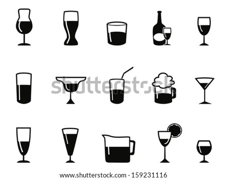 alcohol icons set - stock vector
