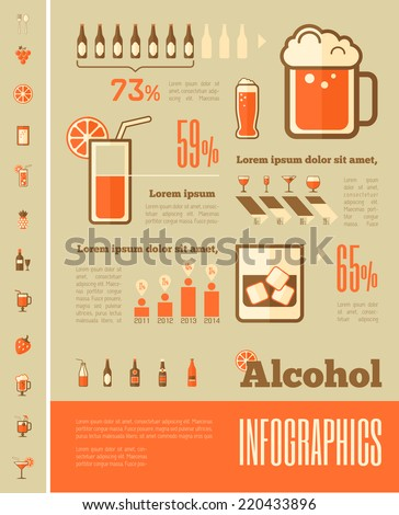 Alcohol Infographic Template. - stock vector