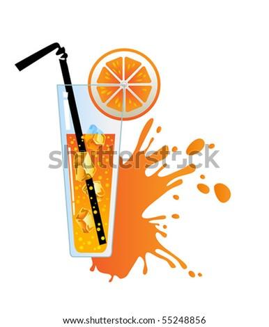 alcohol orange cocktail - stock vector