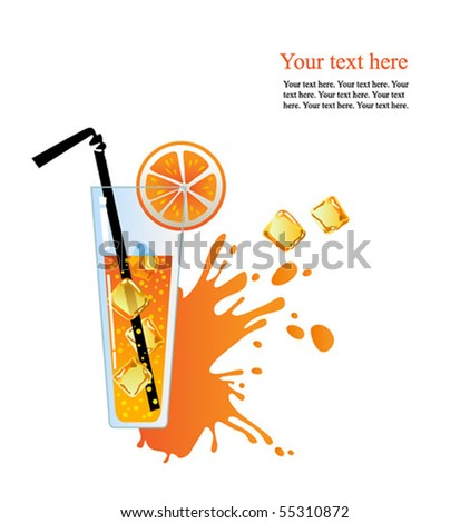 Alcohol orange cocktail with ice. - stock vector