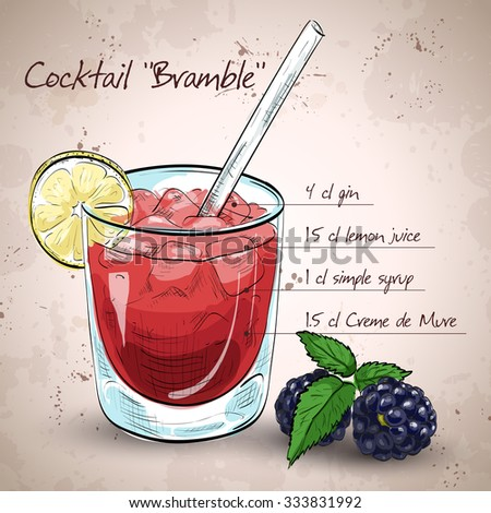 Alcoholic cocktail Bramble with Gin, lemon, sugar syrup, Blackberry liqueur - stock vector