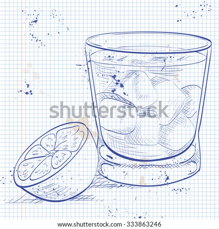 Alcoholic Cocktail Godmother on a notebook page with Vodka and liqueur Amaretto - stock vector