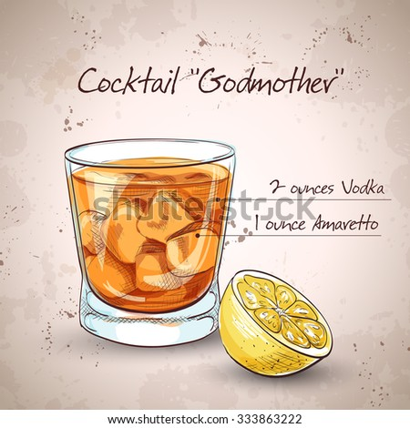 Alcoholic Cocktail Godmother with Vodka and liqueur Amaretto - stock vector