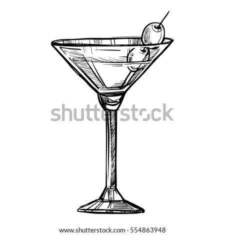 alcoholic cocktail hand drawn sketch vector stock vector 554863948 rh shutterstock com how to draw a cocktail glass Lighted Martini Glass Centerpiece
