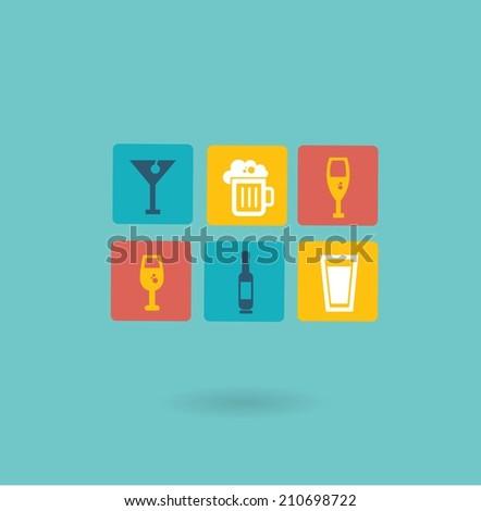 alcoholic drinks icon - stock vector