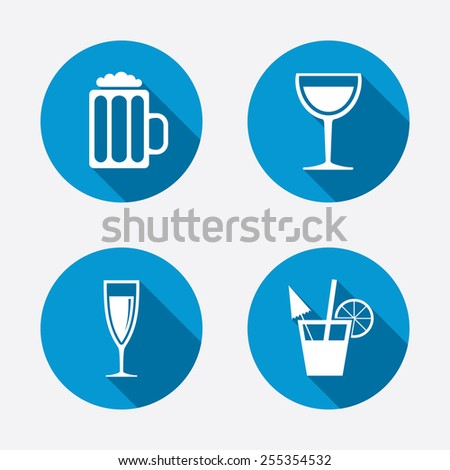 Alcoholic drinks icons. Champagne sparkling wine and beer symbols. Wine glass and cocktail signs. Circle concept web buttons. Vector - stock vector