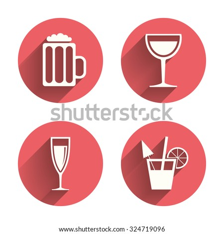 Alcoholic drinks icons. Champagne sparkling wine and beer symbols. Wine glass and cocktail signs. Pink circles flat buttons with shadow. Vector - stock vector