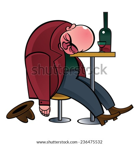 Alcoholic drunk man asleep on the table - stock vector