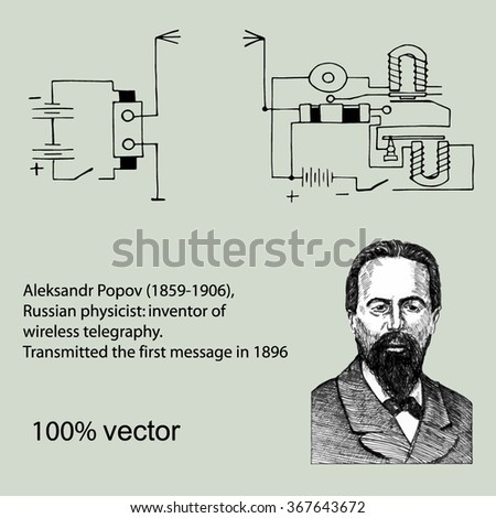 Aleksandr Popov (1859-1906), Russian physicist: inventor of wireless telegraphy. Transmitted the first message in 1896. Vector - stock vector
