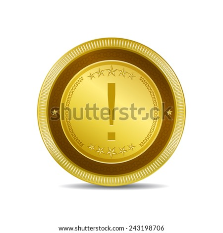 Alert Sign Golden Square Button Icon - stock vector