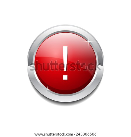 Alert Sign Red Square Button Icon - stock vector